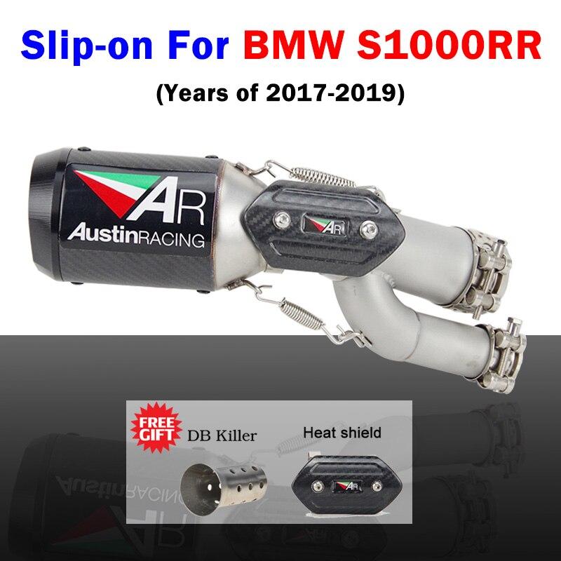 S1000rr 2017-2019 sans lacet silencieux d'échappement de moto tuyau de lien moyen avec Austin course d'échappement pour BMW S1000rr 2017 2018 2019
