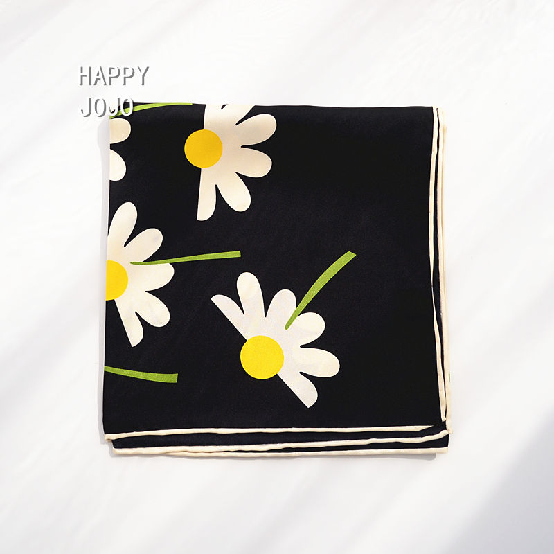 100% natural pure <font><b>silk</b></font> black <font><b>scarf</b></font> with flower 86*86 big <font><b>squares</b></font> multifunctional <font><b>scarf</b></font> lovely kerchief neck shawl gift for women image