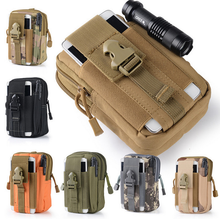 Outdoor Sports Molle Tactical Waist Pack Morning Exercise Backpack Waterproof Phone Bag Wear Leather Belt Men's Running Portable