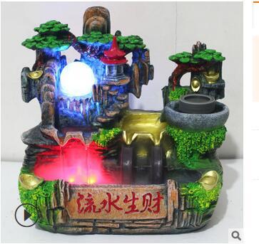Rockery бег воды Расширенный туман рыбы бассейн фонтан Fengshui колесо композиции Wetting дома открытие подарок дома завод прямой