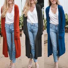 Women's Casual Coat Cardigan Tops Open Front Pockets Solid Long Sleeve Outwear pockets knit open front cardigan