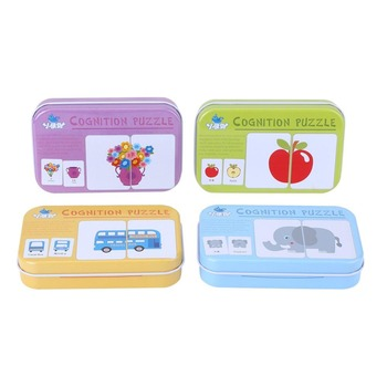 Baby kids Cognitive Cards Montessori Materials Animal Fruit Chinese English Learning Books Puzzles Education Toys For children