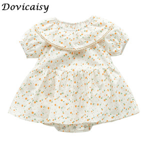 Детское боди с цветочным принтом и оборками; Комбинезон с короткими рукавами для новорожденных; Одежда для маленьких девочек; Милая одежда; ...