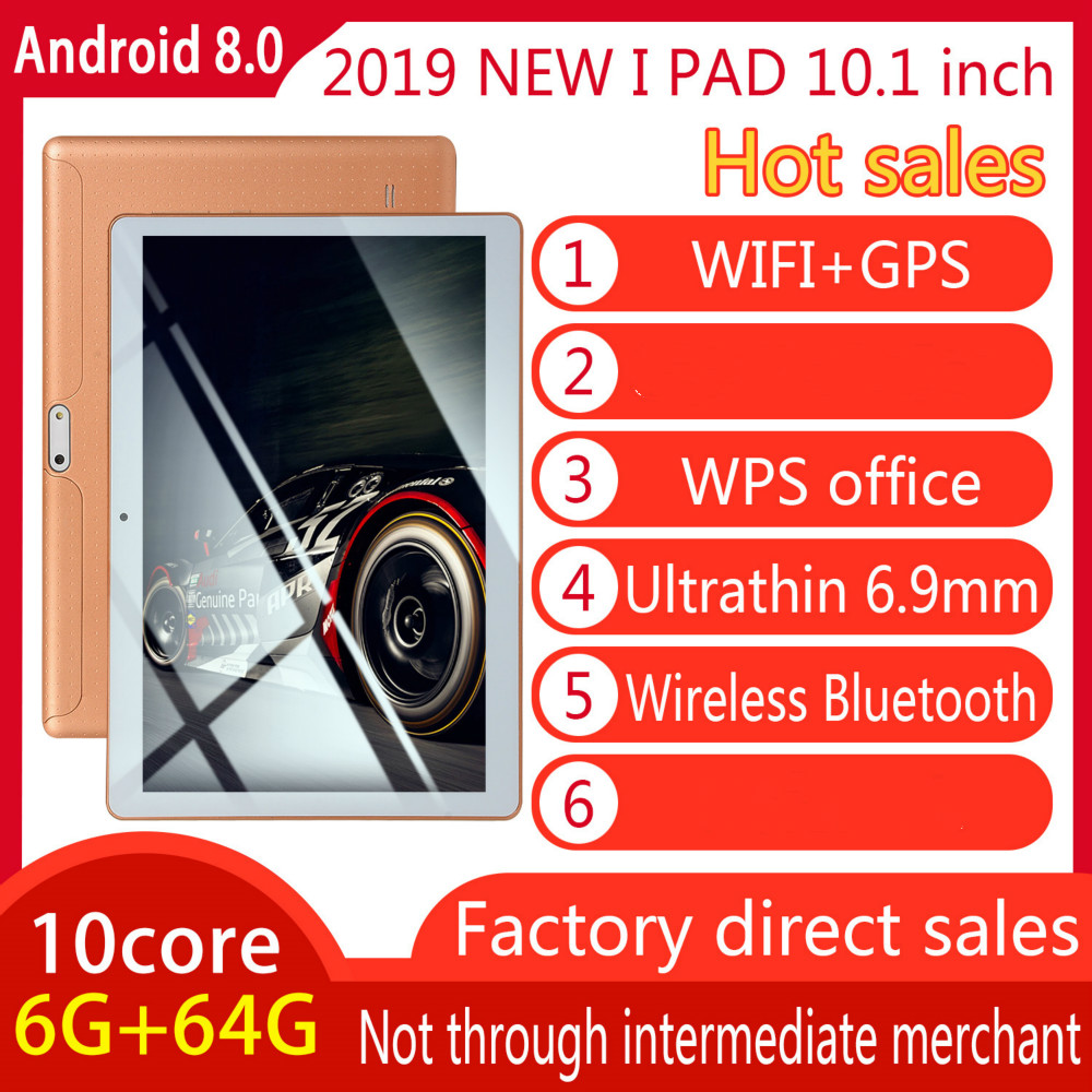 10 Inch Tablet Pc Quad Core Original Powerful Android8.0 6GB RAM 64GB ROM IPS Dual SIM Phone Call Tab Phone Pc Tablets