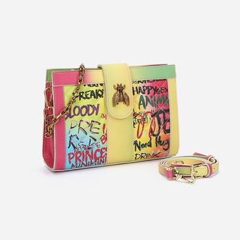 2020 New Arrival Colourful Rainbow Crossbody Bee Bag High Quality Shoulder Chain Bags Stylish Graffiti Messenger Bags for Women фото