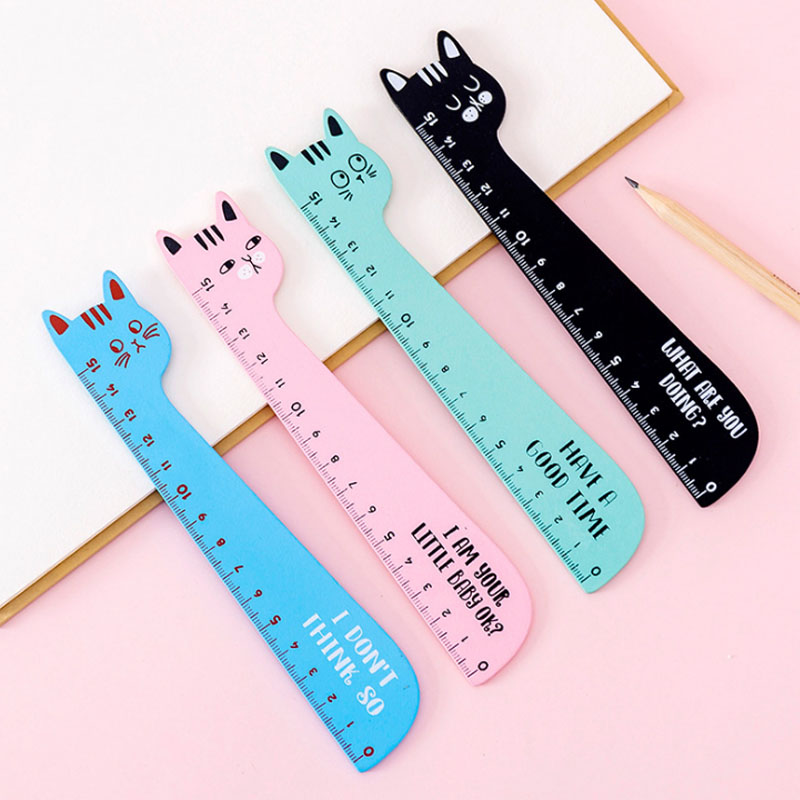 1pcs/lot Cute Cat Design Ruler Office School Supplies Wooden Rulers  Kids Study Funny Stationery