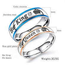 New Blue Gold Model His Queen Her King Crown Letter Jewellery for Men and Women Valentines Day Gift