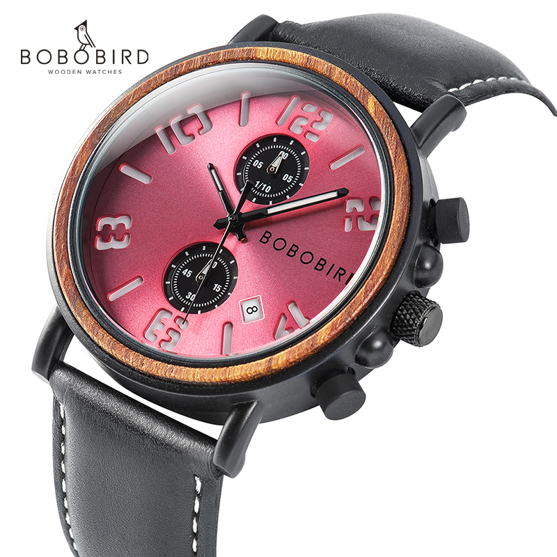 relojes hombre BOBOBIRD Men Watch Luminous Hand Date Display Fashion Wrist Watches Chronograph Best Gift with Box V S28 in Quartz Watches from Watches