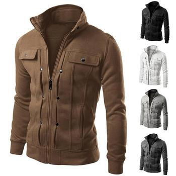 Autumn Winter Men Solid Color Stand Collar Zip Up Slim Long Sleeve Jacket Coat