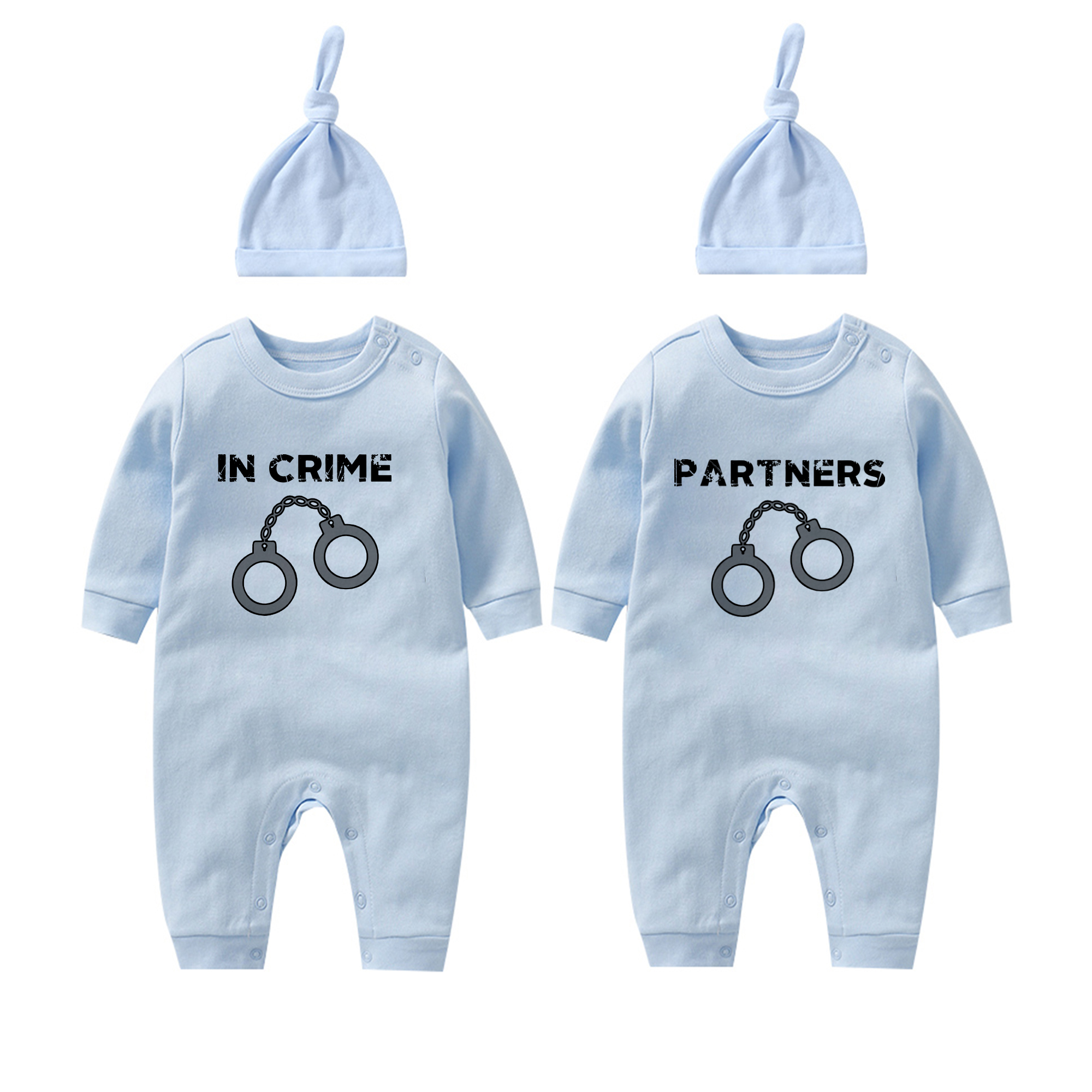 Funny Baby Shirts,Twin infant bodysuit Funny Baby Clothes PARTNERS IN CRIME Funny Infant bodysuit