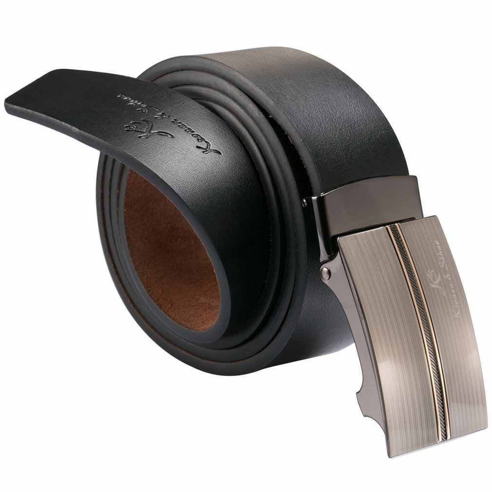 العلامة التجارية الجديدة الأعمال KS أصيلة الأسود الفضة الرجال دعوى جلد طبيعي قفل أوتوماتيكي حزام صالح 20-49 بوصة قابل للتعديل/KB033