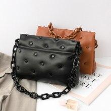 Thick Chain Crossbody Bag For Women 2021Soft leather Shoulder bag Luxury rivet designer Hobo Bag Brand Handbag female Armpit Bag
