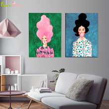 Abstract Pink Girl Hair Cuadros Wall Art Canvas Painting Blowing Bubbles Nordic Poster Pictures For Living Room Unframed