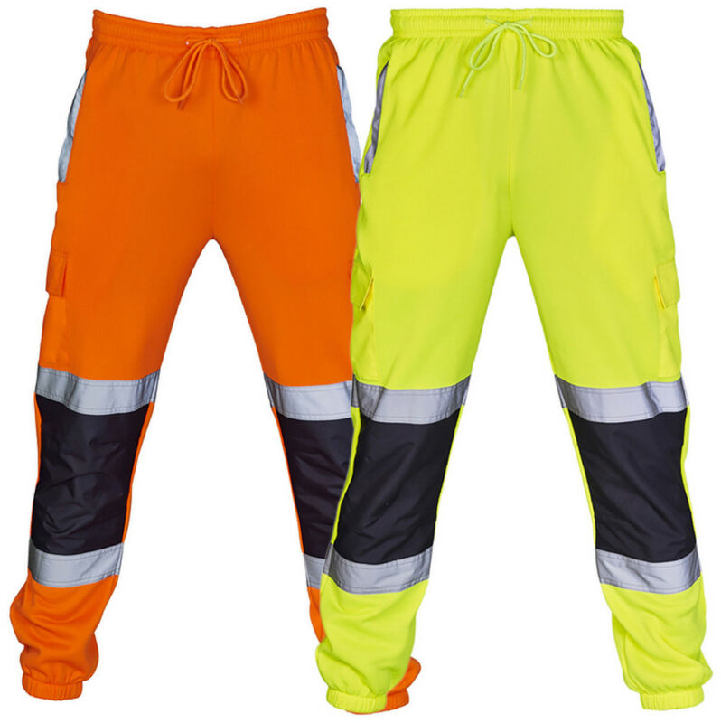 Men's Fahison Sport Sweat Pants Work Fleece Bottom Joggerms Joggers Yellow Black Orange Fluorescent Green