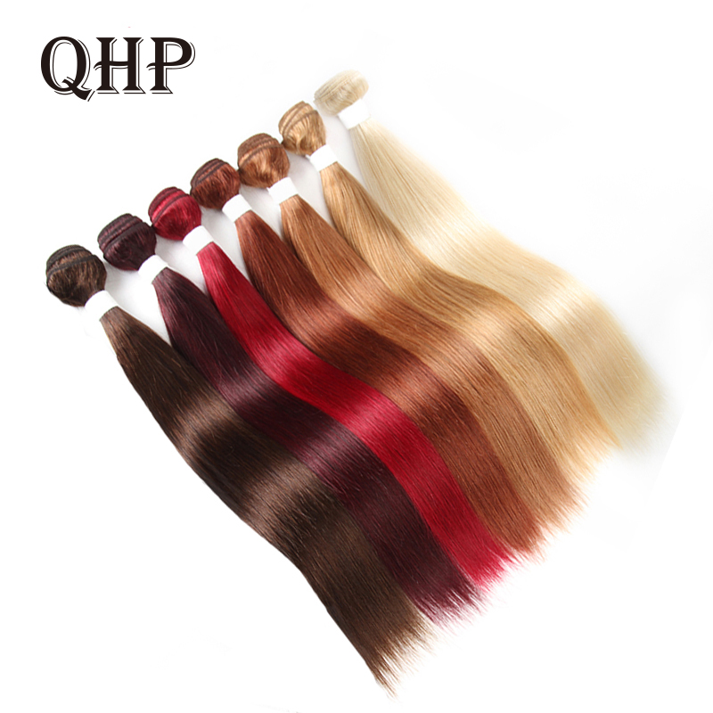 Hair Brazilian Remy Hair Weave Bundles #613/#4/#33/#30/#27/#99J/#BURG Straight Human Hair Extension Free Shipping