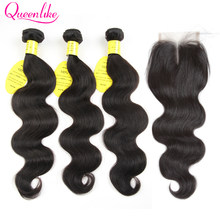 QueenLike Hair Products Brazilian Body Wave With Closure Non-Remy Hair Weft Weaving 3 4 Bundles Human Hair Bundles With Closure(China)