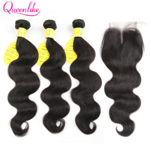 Queenlike Hair-Products Closure Body-Wave Human Non-Remy-Hair Brazilian with Weft-Weaving