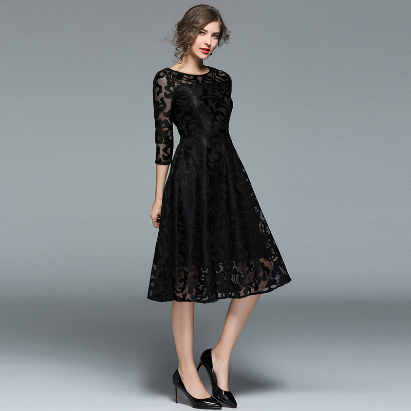 Long Style Casual Wear Top Fashion Women Dresses Wholesale Lace Turkey Women Office Dresses 2020