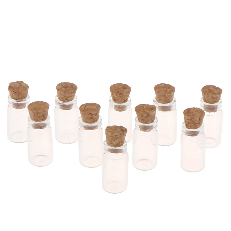 1:12 Miniature 10Pcs Display Glass Bottles Jars With Cork For Food Storage Dollhouse Kitchen Accessories
