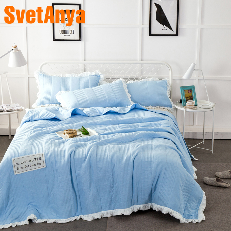 2018 Blue Stitching Summer Quilt Washed Polyester Border Blanket Bedspread Set 3Pc Quilt 250x250cm Stitching Bed Covers in Bedspread from Home Garden