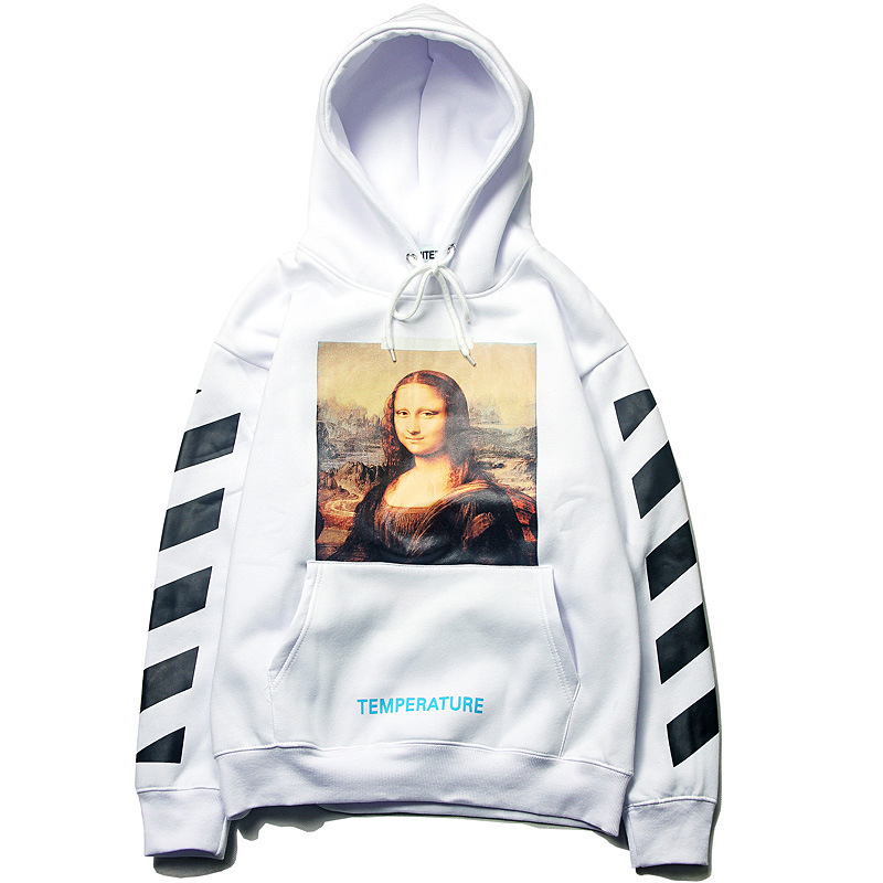 Whte Mona Lisa Hoodie Men And Women Celebrity Style Printed Hooded Pullover Loose-Fit Ow Coat Men's Sweatshirts & Hoodies Autumn
