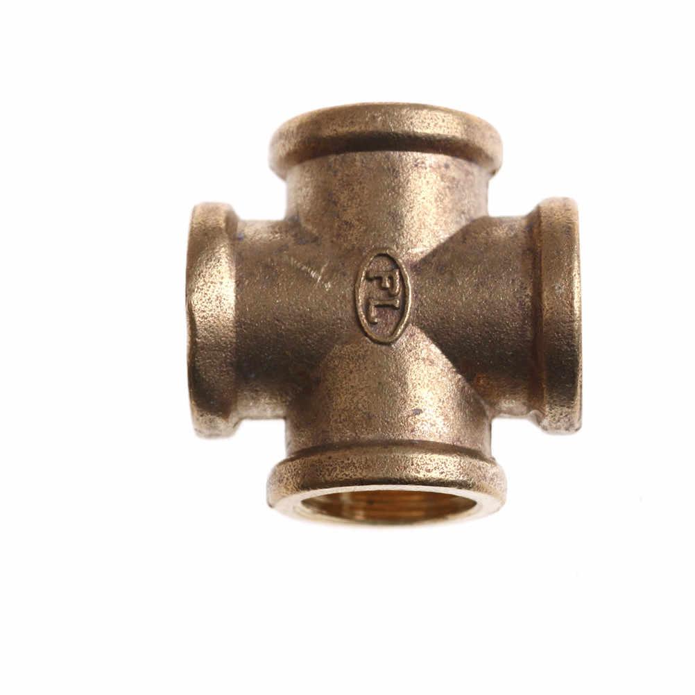 """Een Stuk 1/2 """"Bsp 4 Way Messing Cross Pijp Adapter Coupler Connector Voor Water Fuel Gas"""