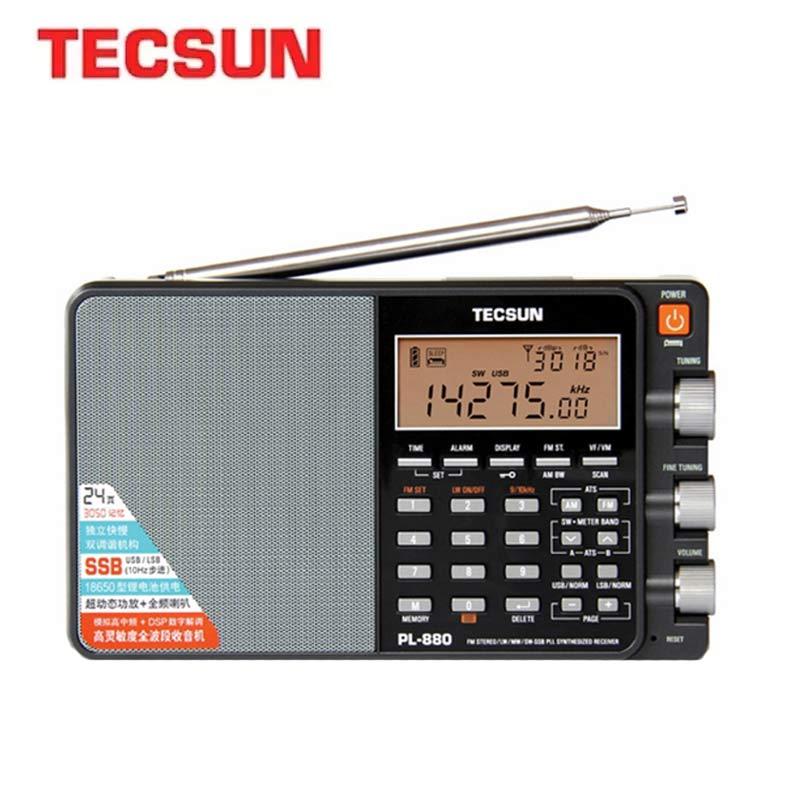 Tecsun PL880 PLL Dual Conversion AM FM Shortwave Portable Radio with SSB Silver