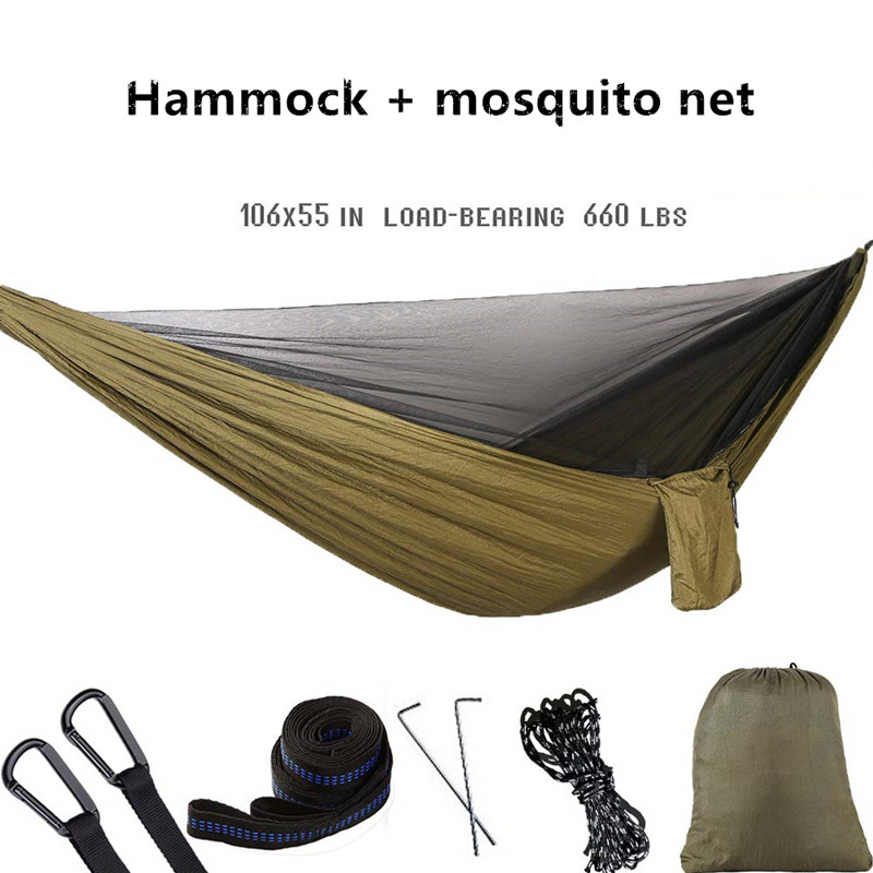 Camping Hammock With Mosquito Net Double Hammock Travel Hammock,Backpacking Hammock Portable Parachute Hammock