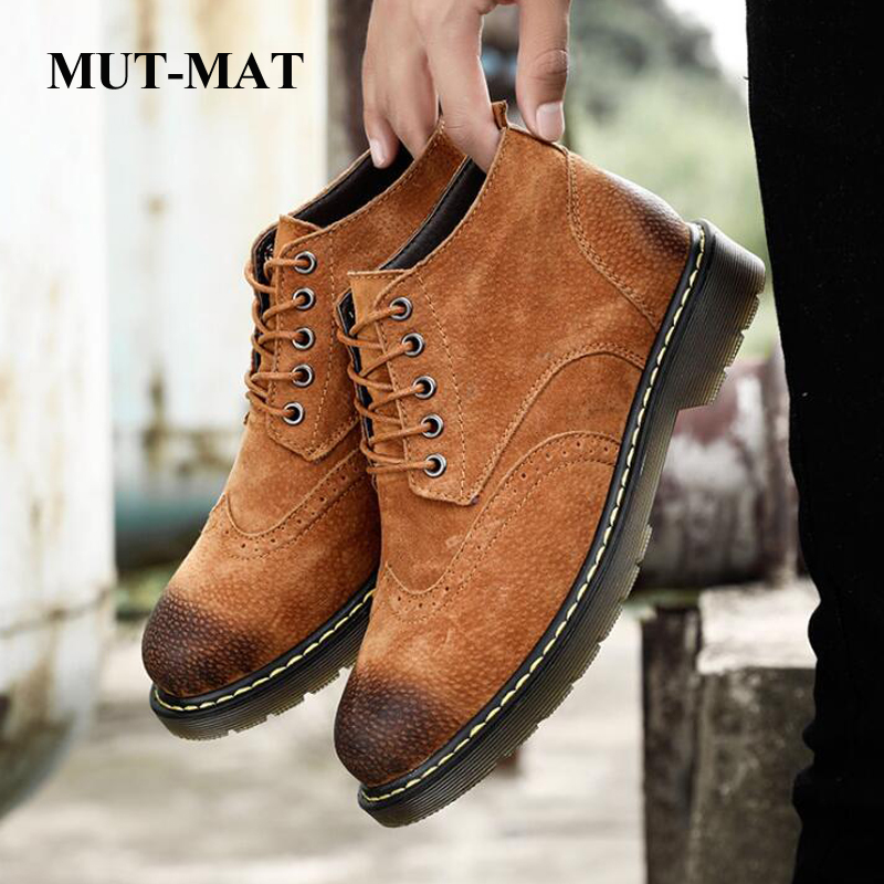 Leather Martin Boots Men's Autumn And Winter Large Size Brock Casual Shoes Increased Wear-resistant Chelsea Boots Male