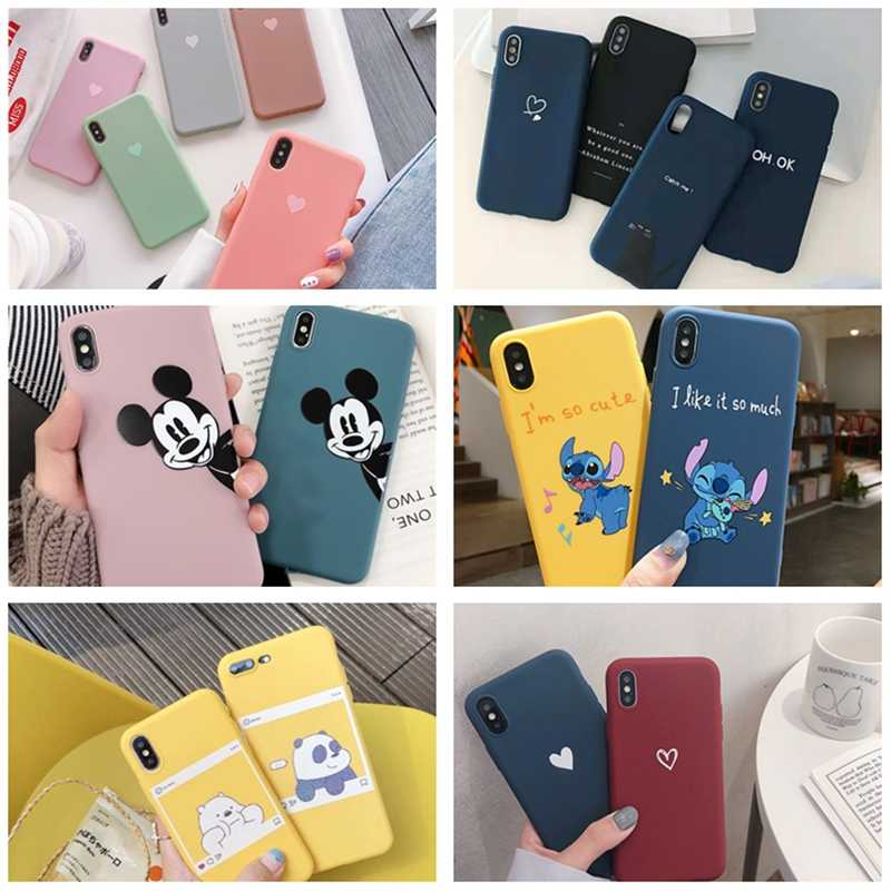 Luxury Matte Phone Case For iphone x xs max xr 78 6 6s plus 5 5S Cute Love Heart Candy Color Soft Silicon Back Cover Protector