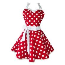Precioso Sweetheart rojo Retro Cocina delantales mujer chica algodón Polka Dot salón de cocina Vintage delantal vestido Navidad