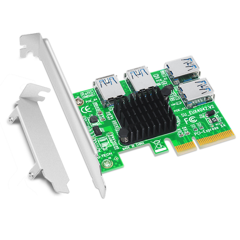 <font><b>PCI</b></font> Express Riser Card 1 <font><b>to</b></font> 4 16X <font><b>PCIe</b></font> Riser <font><b>PCI</b></font>-E 4X <font><b>to</b></font> 4 USB 3.0 <font><b>Adapter</b></font> Port Multiplier Card for BTC Bitcoin Miner Mining NEW image