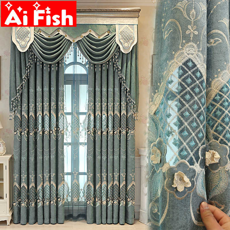 New European Chenille Laser Embroidery Semi-Blackout Curtai For Living Room Study Bedroom Versatile Sheer Curtains Drape M125-4