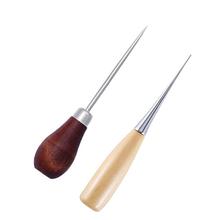 1Pc dziurkacze kaletnicze profesjonalne tkaniny szydło narzędzie do szycia otwór przebijanie skóry drewna uchwyt stalowe szydło Craft szwy skórzane tanie tanio TPXCKz CN (pochodzenie) Wood+Steel MU0069