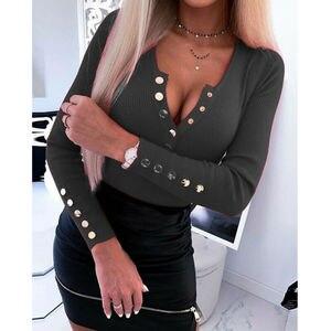 Women Autumn Buttoned Skinny V Neck T-shirt Jumper Slim Fit Tops Ladies Long Sleeve Basic T Shirt Tops