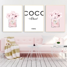 Духи мода холст искусство принты и плакат Современная акварель Румяна Розовый картина с пионами настенные картины декор для гостиной