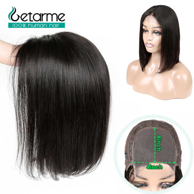 4x4 Lace Closure Wig Peruvian Straight Bob Wig Lace Closure Wig Human Hair Wigs For Black Women 130% Low Ratio Non Remy Wig