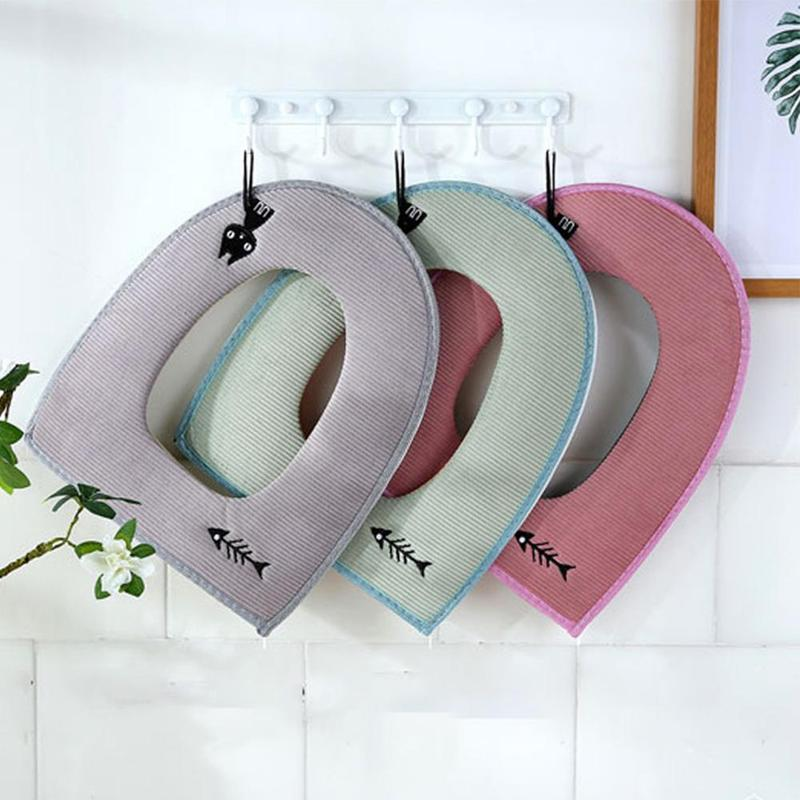 1pc Cartoon Cat Toilet Seat Cover Mat Cute Embroidered Thicken Zipper Waterproof Warmer Washable Toilet Cushion Seat Cover