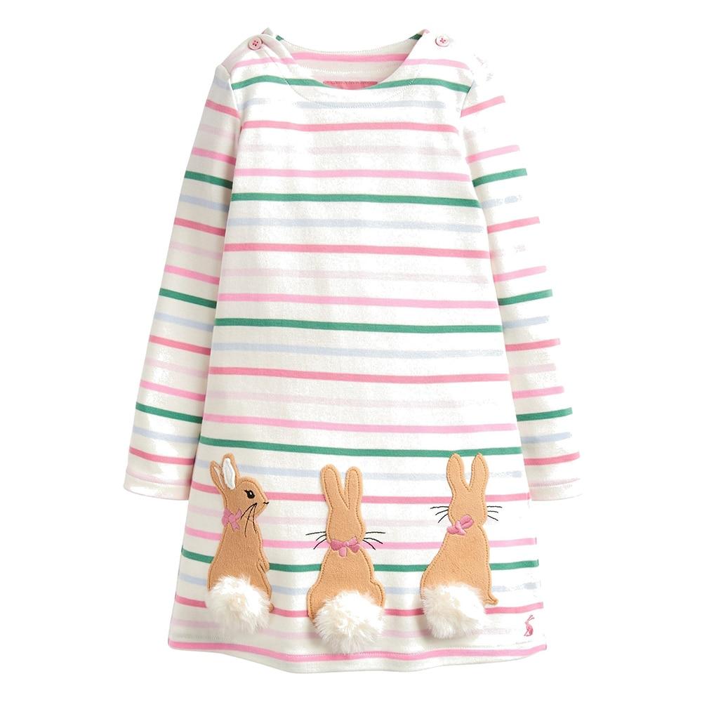 Toddler Girl Dresses Animal Applique Unicorn Rabbit Christmas Dress Princess Costume Cotton Baby Clothes Kids Party Dress 2-7Y