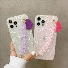 Rosa Weiß 3D Liebe Herz Handgelenk Kette Telefon Fall Für Samsung Galaxy A51 A71 A21S A12 A32 A42 A52 A72 a30 A50 A70 M30S M21 M31 M51