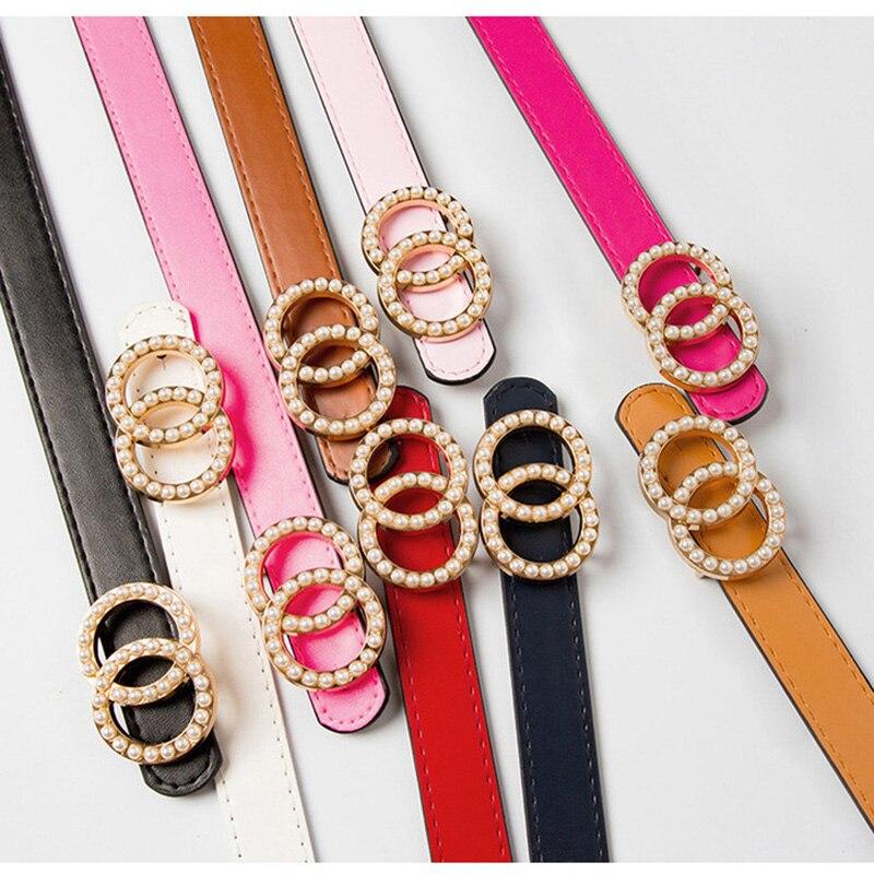Double Ring Circle Buckle Pearl Belts Luxury Brand Women Leather Belt Girls 105cm Jeans Pants Dresses Waist Belts Ceinture Femme