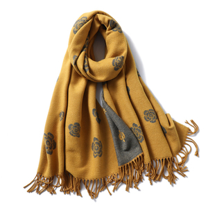 Image 2 - Brand Designer Winter Scarf for Women Classic Floral Print Shawls and Wrap Thick Warm Pashmina Fashion Tassels Cashmere Scarves
