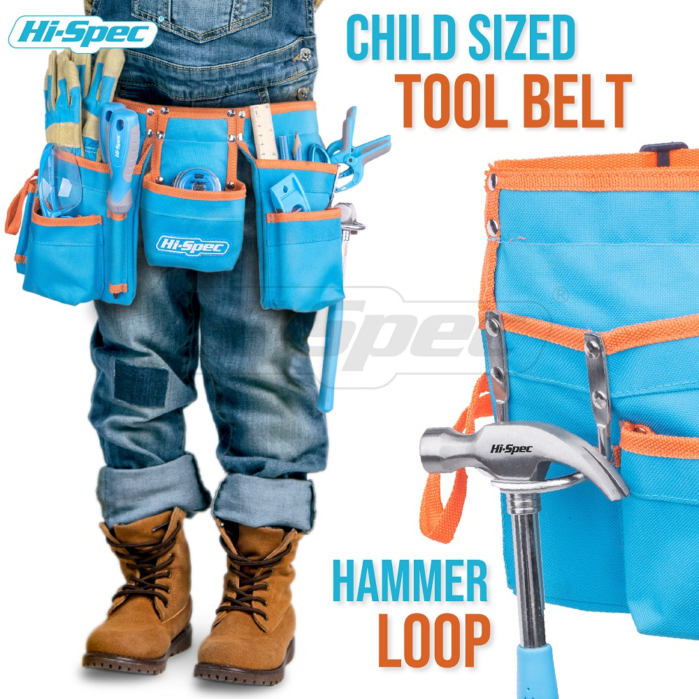 Tools : Hi-Spec My First Tool Set Real Children Kids Tool Kit Belt Waist Small Size DIY Hand Tool Set Toy Gift Tools for Kids Boys Girls