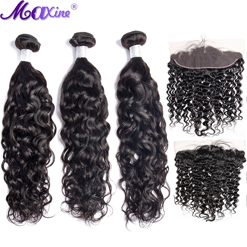 Water Wave  Bundles With Frontal Maxine Remy Hair Weave 3 Bundles With 13x4 Lace Frontal Human Hair Extensions Deal