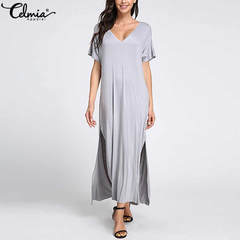 Celmia yaz kadın uzun gömlek elbise 2020 moda V boyun kısa kollu gevşek seksi bölünmüş plaj Sundress artı boyutu Vestidos elbise
