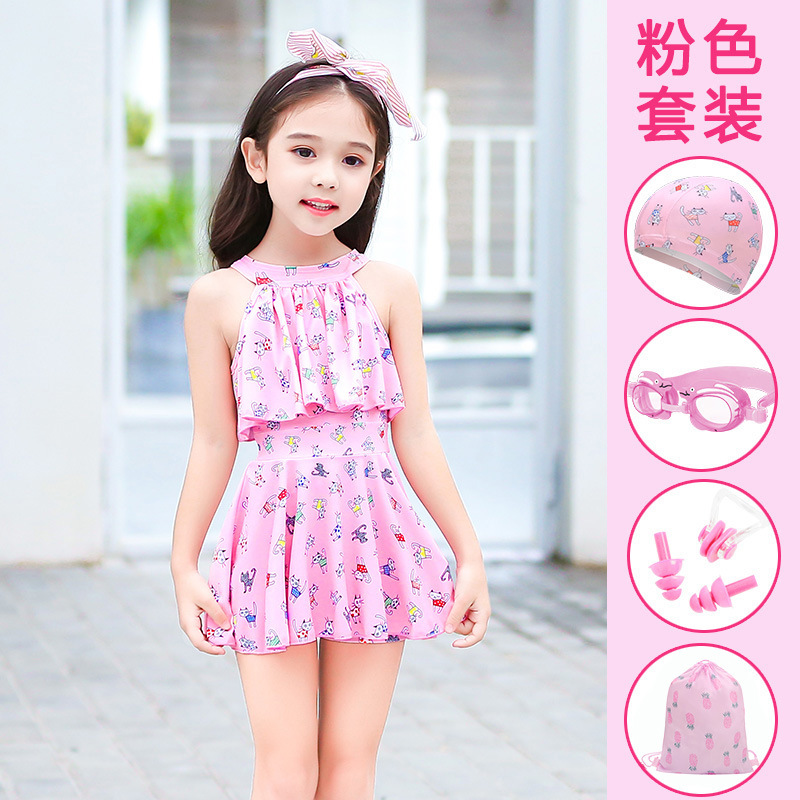 KID'S Swimwear Girls Swimwear One-piece Cute Princess Dress-Small CHILDREN'S Baby Bathing Suit GIRL'S Swimsuit Big Boy