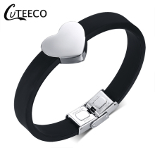 CUTEECO Fashion Design Jewelry Quality Tainless Steel Heart Bracelet For Men Woman Silicone Bracelets & Bangles