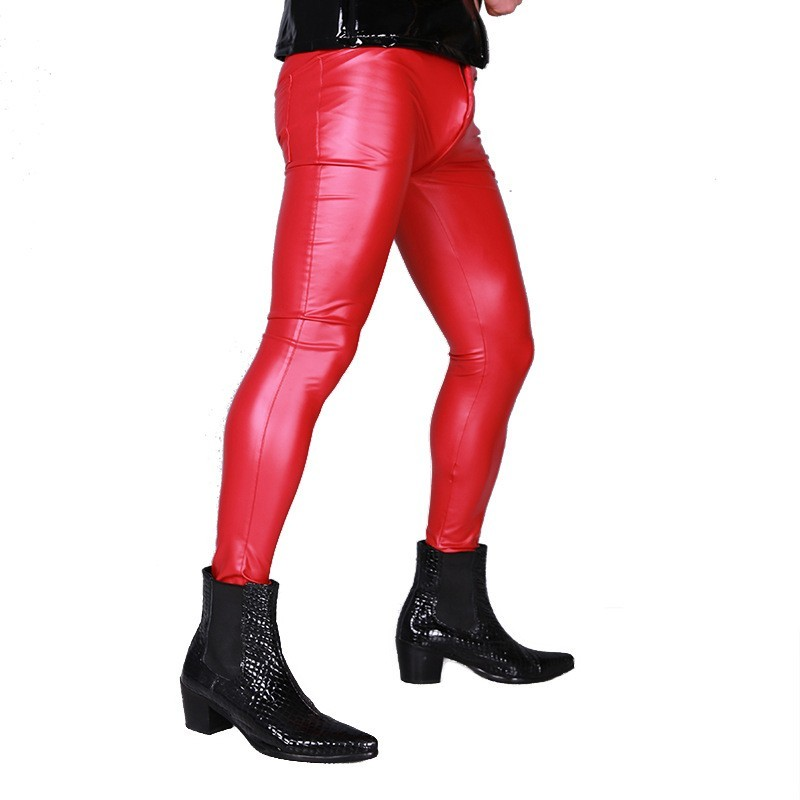 Fashion Bright Pu Leather Elastic Skinny Pencil Pants Men Long Motorcycle Trousers Joggers Punk Stage Show Faux Leather Pants