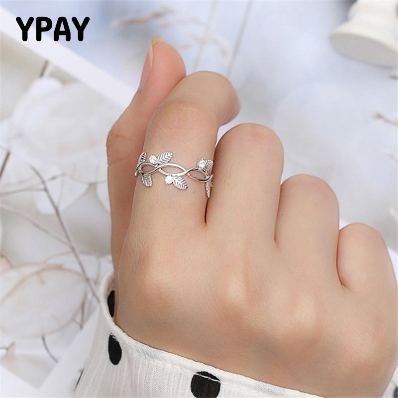 YPAY 100% Real 925 Sterling Silver Open Rings For Women Geometric Leaves Zircon Ring Fine Party Jewelry Christmas Gifts YMR968