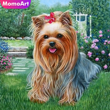 MomoArt 5D Diamond Painting Dog Cute Mosaic Full Drill Square Embroidery Animal Home Decoration